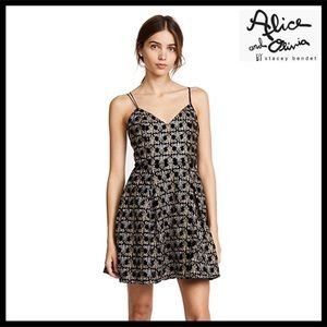 ALICE + OLIVIA EMBROIDERED MINI DRESS
